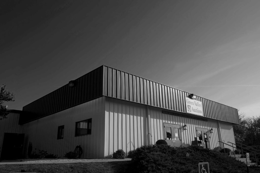 Green Valley Auctions facilities in black and white
