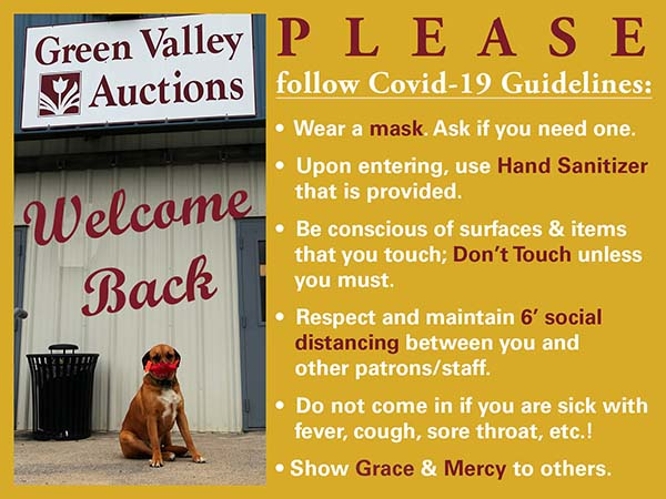 Covid-19 Guidelines for Green Valley Auctions patrons